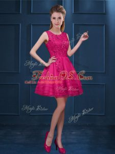 Adorable Scoop Sleeveless Quinceanera Court of Honor Dress Knee Length Lace and Ruffled Layers Hot Pink Tulle