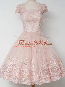 Deluxe Peach Zipper Square Lace Wedding Party Dress Tulle Cap Sleeves