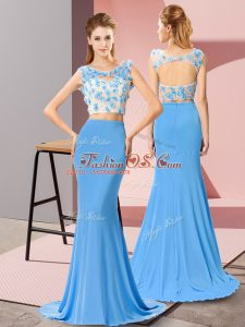 High End Sleeveless Brush Train Beading and Hand Made Flower Zipper Celebrity Dresses