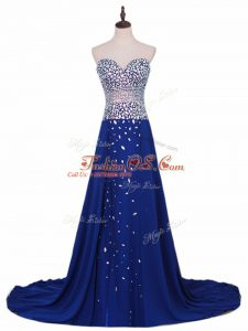 Suitable Sleeveless Beading Zipper Oscars Dresses with Royal Blue Brush Train