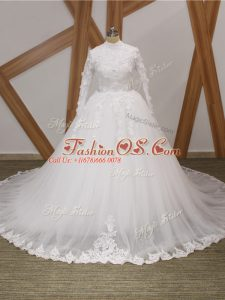 Hot Sale Zipper Wedding Gown White for Wedding Party with Lace and Appliques Court Train