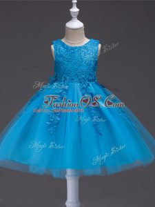 Tulle Sleeveless Knee Length Kids Formal Wear and Appliques