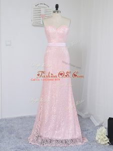 Dazzling Floor Length Column/Sheath Sleeveless Baby Pink Quinceanera Court of Honor Dress Zipper