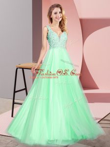 Lace Prom Evening Gown Apple Green Zipper Sleeveless Floor Length
