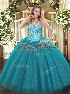 Exceptional Tulle and Sequined Sleeveless Floor Length Sweet 16 Dress and Appliques