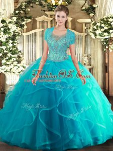 Classical Aqua Blue Sleeveless Tulle Clasp Handle 15 Quinceanera Dress for Military Ball and Sweet 16 and Quinceanera