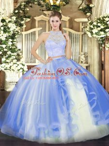 Dazzling Floor Length Zipper Ball Gown Prom Dress Baby Blue for Military Ball and Sweet 16 and Quinceanera with Lace and Ruffles