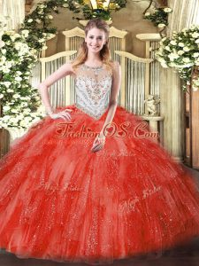 Fabulous Ball Gowns Quinceanera Gowns Coral Red Scoop Tulle Sleeveless Floor Length Zipper