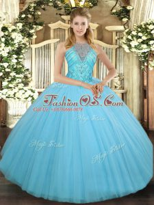 Tulle Sleeveless Floor Length Quinceanera Gown and Beading