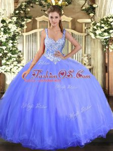 Shining Blue Ball Gowns Tulle Straps Sleeveless Beading Floor Length Lace Up Quince Ball Gowns