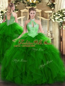 Organza Sleeveless Floor Length Ball Gown Prom Dress and Ruffles and Sequins