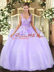 Comfortable Lavender Organza Lace Up Straps Sleeveless Floor Length Quinceanera Dress Beading
