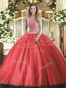 Red Ball Gowns Tulle High-neck Sleeveless Beading Floor Length Lace Up Ball Gown Prom Dress