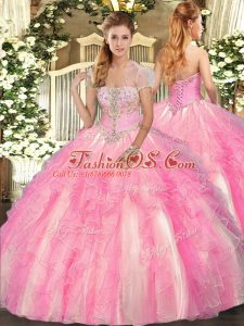 On Sale Rose Pink Quinceanera Gowns Military Ball and Sweet 16 and Quinceanera with Appliques and Ruffles Strapless Sleeveless Lace Up