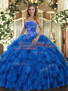 Custom Designed Royal Blue Strapless Lace Up Beading and Ruffles Quinceanera Gown Sleeveless