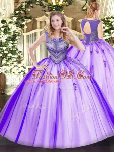 Customized Beading Quinceanera Dresses Lavender Lace Up Sleeveless Floor Length