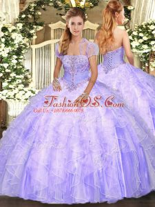High End Lavender Ball Gowns Appliques and Ruffles Quinceanera Gowns Lace Up Tulle Sleeveless Floor Length