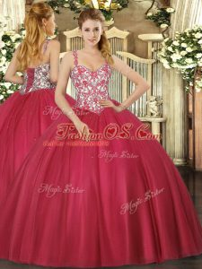 Beauteous Coral Red Straps Lace Up Beading and Appliques Vestidos de Quinceanera Sleeveless