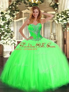 Unique Tulle Sweetheart Sleeveless Lace Up Beading Quince Ball Gowns in