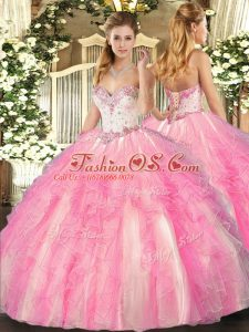 Sweetheart Sleeveless Sweet 16 Dresses Floor Length Beading and Ruffles Rose Pink Tulle