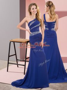 Dazzling One Shoulder Sleeveless Sweep Train Lace Up Dress for Prom Blue Chiffon