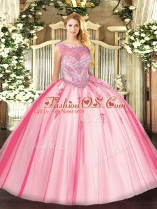 Hot Selling Floor Length Pink Quinceanera Gowns Scoop Sleeveless Zipper