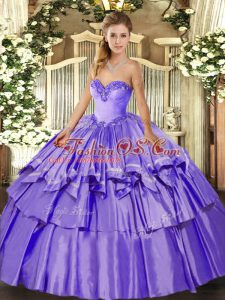 Lavender Organza and Taffeta Lace Up Ball Gown Prom Dress Sleeveless Floor Length Beading and Ruffled Layers