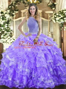 Floor Length Ball Gowns Sleeveless Lavender Sweet 16 Dresses Lace Up