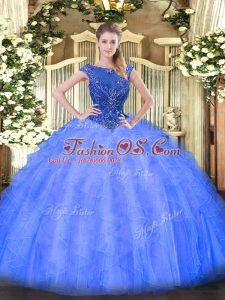 Nice Blue Sleeveless Floor Length Beading and Ruffles Zipper Sweet 16 Dresses