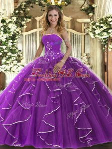 Suitable Purple Ball Gowns Tulle Strapless Sleeveless Beading and Ruffles Floor Length Lace Up 15 Quinceanera Dress