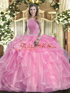 Rose Pink Ball Gown Prom Dress Military Ball and Sweet 16 and Quinceanera with Beading and Ruffles High-neck Sleeveless Lace Up