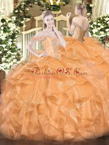 Custom Fit Organza Off The Shoulder Sleeveless Lace Up Beading and Ruffles Ball Gown Prom Dress in Orange
