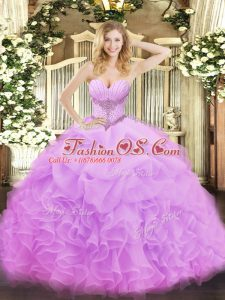 High Quality Lilac Sleeveless Beading and Ruffles and Pick Ups Floor Length Quinceanera Gowns