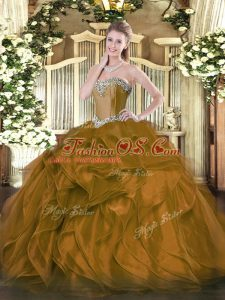 Dazzling Brown Sweetheart Neckline Beading and Ruffles Sweet 16 Dresses Sleeveless Lace Up