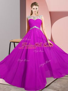 Scoop Sleeveless Chiffon Prom Gown Beading Clasp Handle