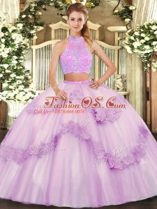 Colorful Sleeveless Floor Length Beading and Appliques and Ruffles Criss Cross Quinceanera Gown with Lilac