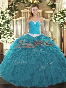 High End Teal Sweetheart Lace Up Appliques and Ruffles Quinceanera Gown Sleeveless