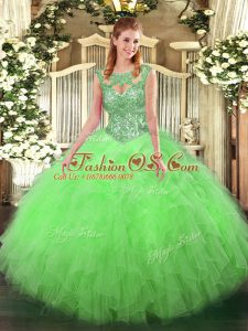 Stylish Sleeveless Floor Length Beading and Ruffles Lace Up Quinceanera Dresses