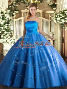 Floor Length Lace Up Ball Gown Prom Dress Blue for Military Ball and Sweet 16 and Quinceanera with Appliques