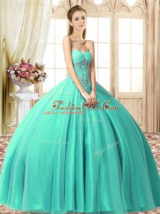 Ball Gowns Vestidos de Quinceanera Turquoise Sweetheart Tulle Sleeveless Floor Length Lace Up