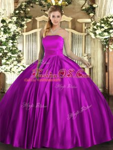 Sleeveless Floor Length Ruching Lace Up Vestidos de Quinceanera with Fuchsia