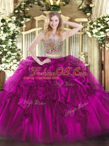 Scoop Sleeveless Organza 15 Quinceanera Dress Beading and Ruffles Lace Up