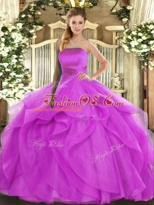 Floor Length Lace Up Ball Gown Prom Dress Fuchsia for Military Ball and Sweet 16 and Quinceanera with Ruffles