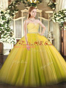 Popular Sweetheart Sleeveless Zipper 15th Birthday Dress Gold Tulle