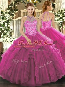 Edgy Fuchsia Organza Lace Up Halter Top Sleeveless Floor Length Quinceanera Gown Beading