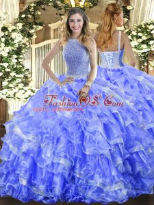 Excellent Sleeveless Lace Up Floor Length Beading and Ruffled Layers Quinceanera Dress