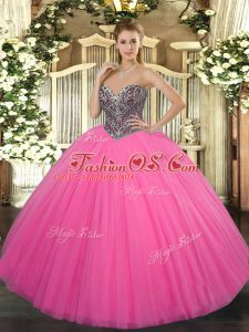 Smart Hot Pink Ball Gowns Sweetheart Sleeveless Tulle Floor Length Lace Up Beading Quinceanera Dresses