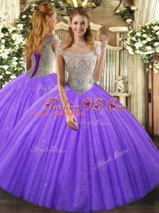 Comfortable Off The Shoulder Sleeveless Lace Up Sweet 16 Dresses Lavender Tulle