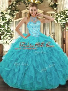 Aqua Blue Sleeveless Beading and Embroidery and Ruffles Floor Length 15 Quinceanera Dress