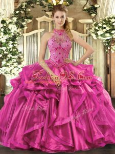 Chic Floor Length Fuchsia Vestidos de Quinceanera Organza Sleeveless Beading and Embroidery and Ruffles